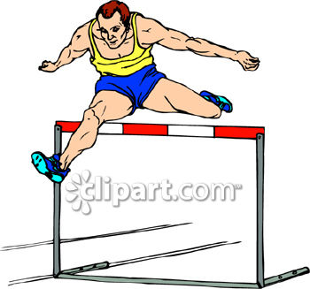 Young Man Jumping A Hurdle   Royalty Free Clipart Picture