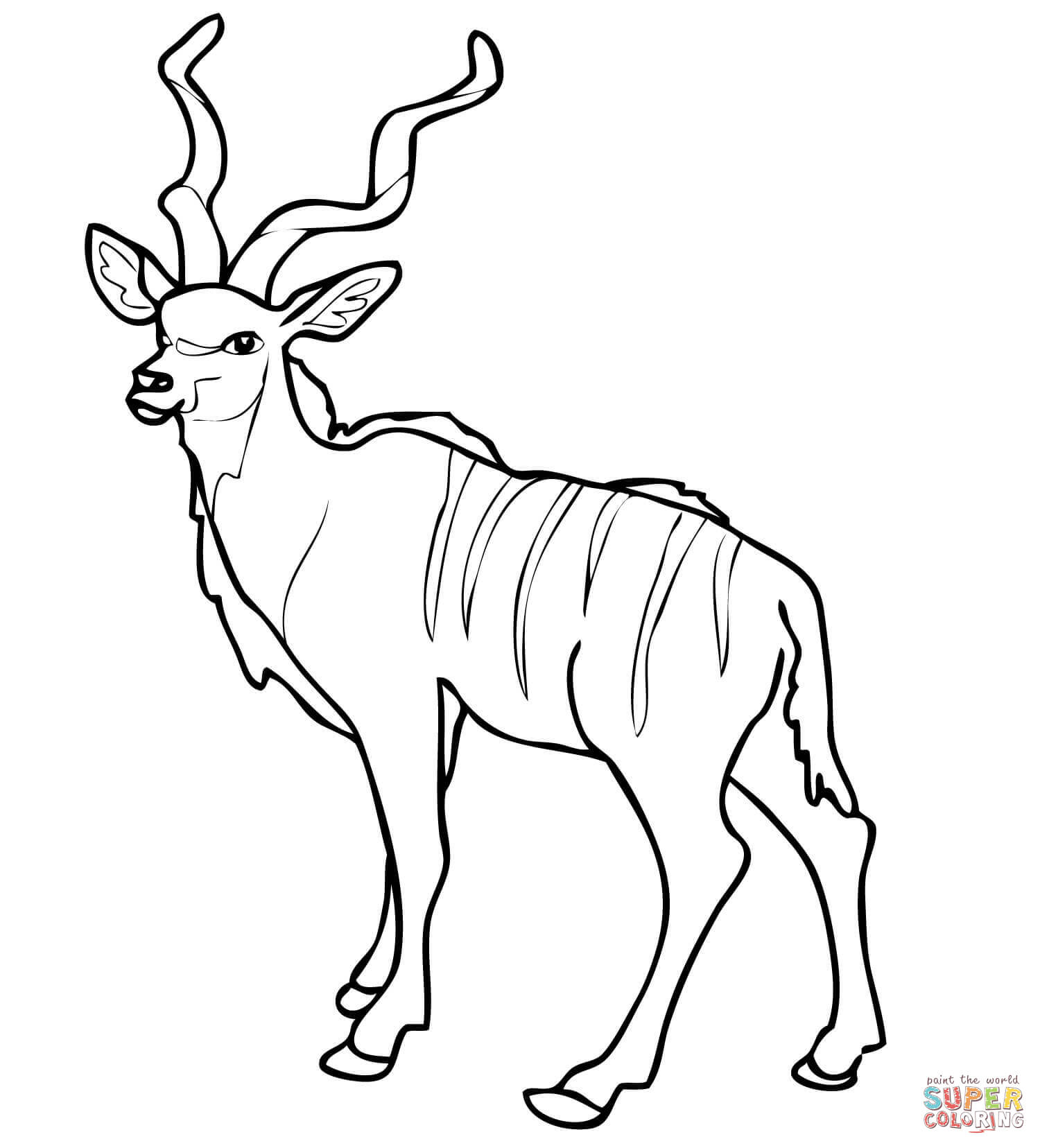 African Woodland Antelope Kudu Coloring Page   Supercoloring Com