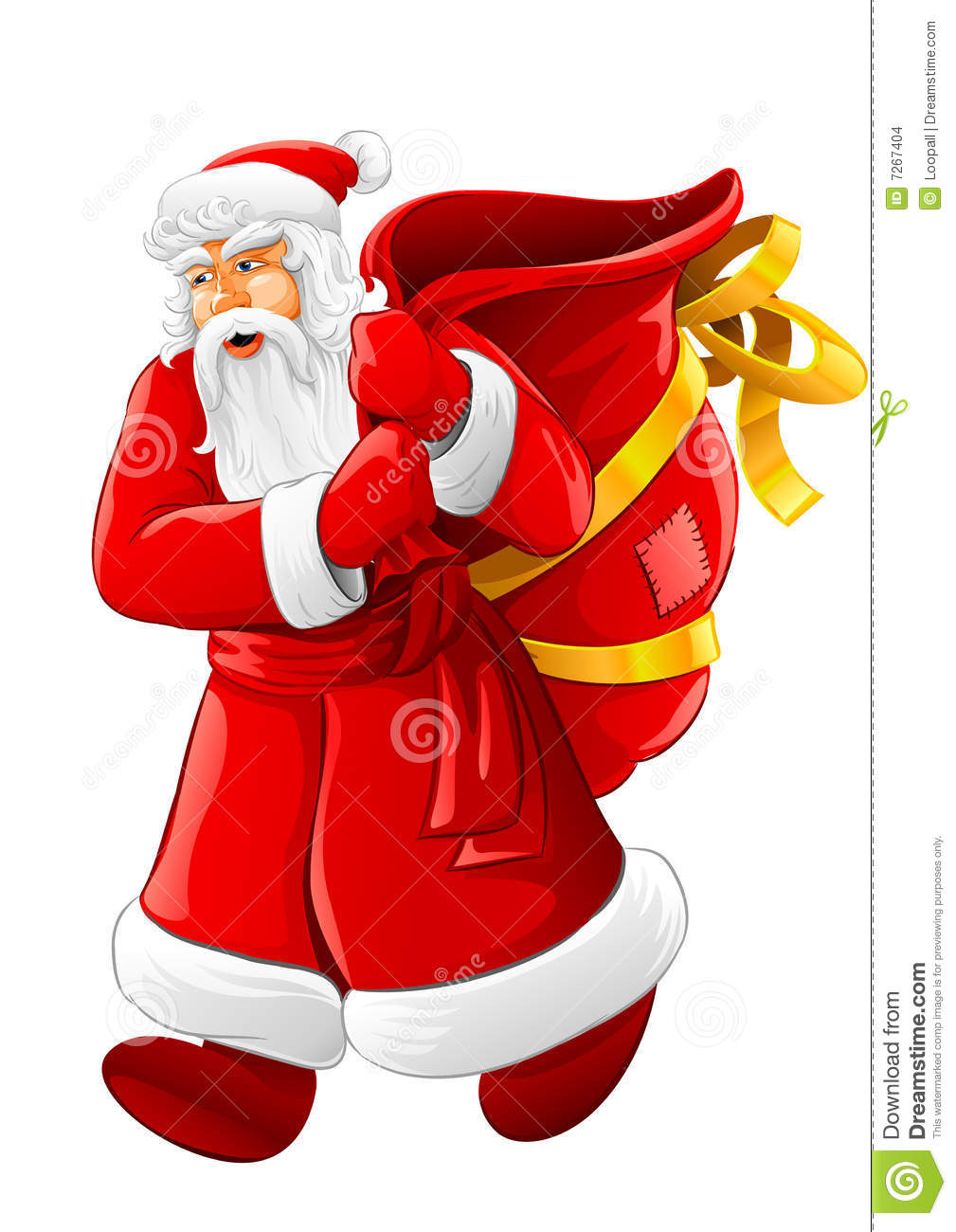 Christmas Santa Claus Walking With Big Empty Sack Stock Images   Image