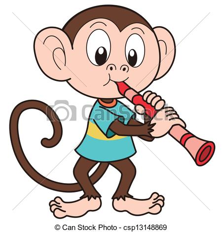 Clarinet Player Clipart Cartoon Monkey Playing A