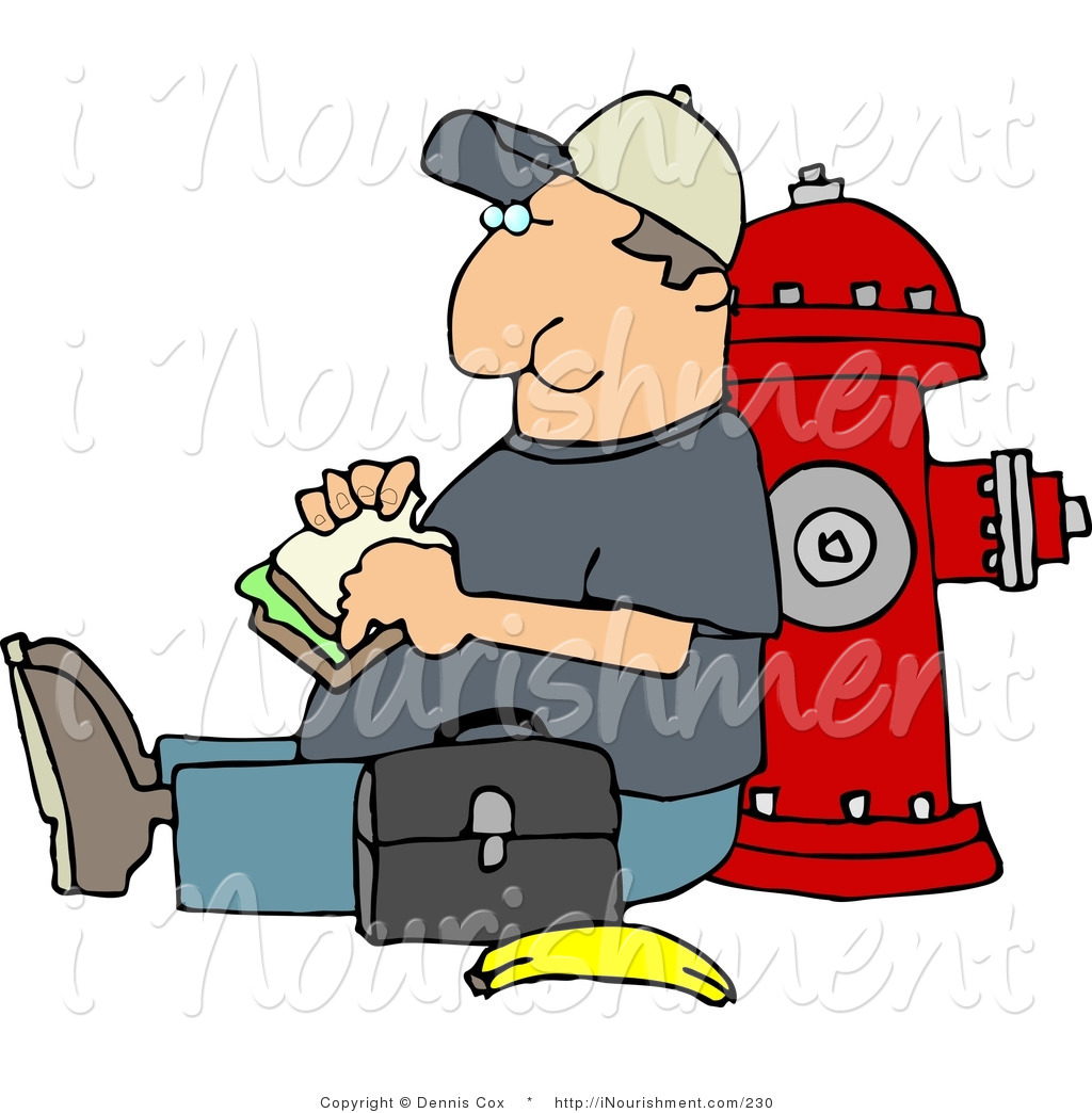 Clipart Of A Male Worker Eating His Lunch Outside Against A Red Fire