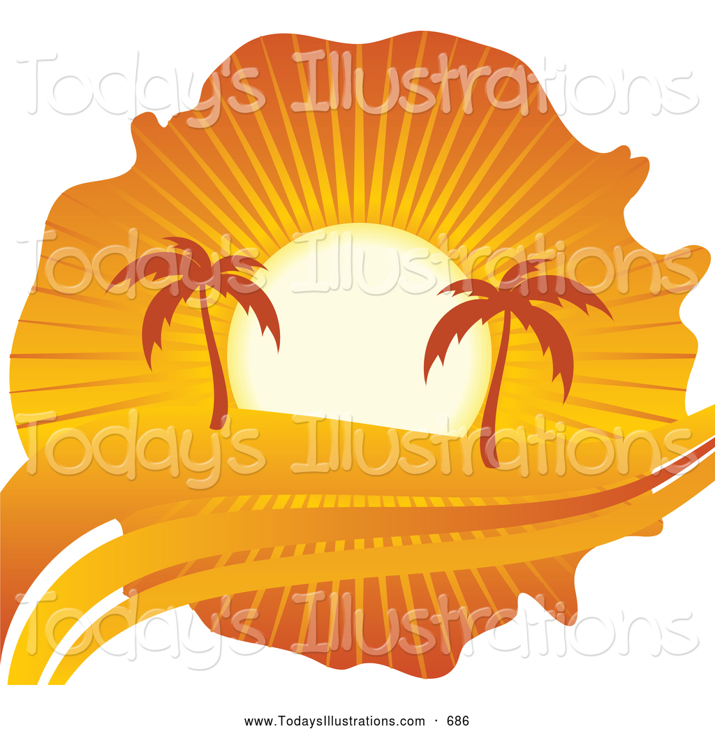 Clipart Of A Pair Of Palm Trees Silhouetted Under An Orange Sunset