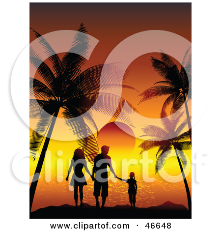Clipart Orange Sunset And Tropical Landscape   Royalty Free Vector