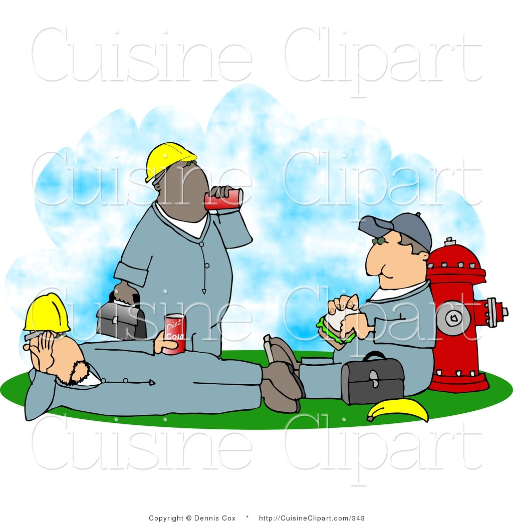 Cuisine Clipart Of Three Male Workers Relaxing And Taking A Lunch