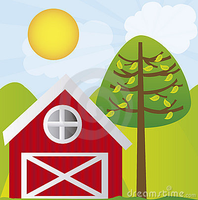 Cute Farm With Tree And Mountains Over Landscape Background  Vector