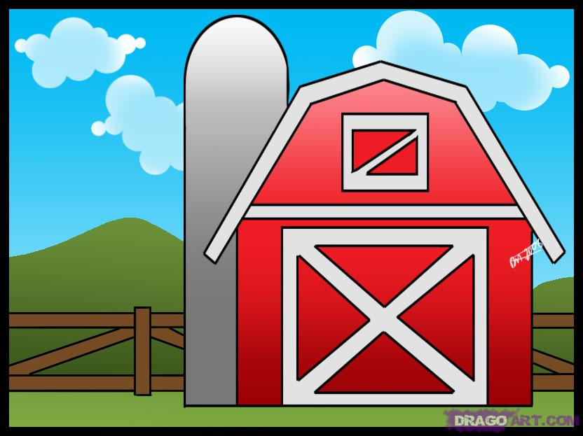 How To Draw A Barn Step By Step Buildings Landmarks   Places Free