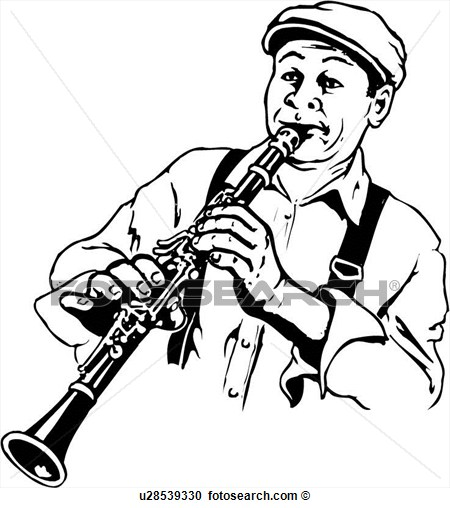 Illustration Lineart Clarinet Player Music Musical Instrument