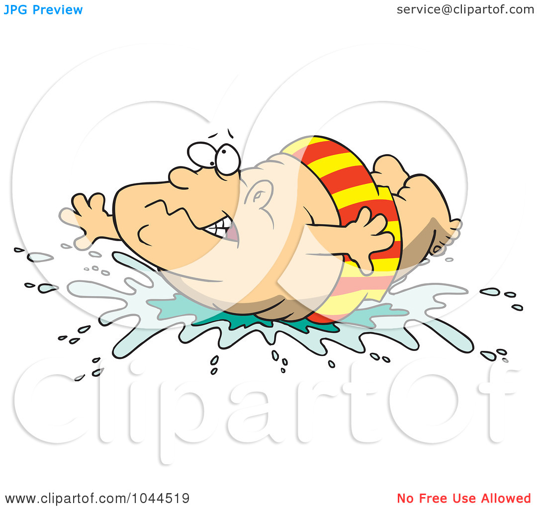 Illustration Of A Cartoon Fat Man Doing A Belly Flop By Ron Leishman