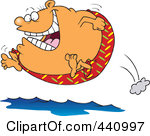 Illustration Of A Cartoon Fat Man Jumping Into Water By Ron Leishman