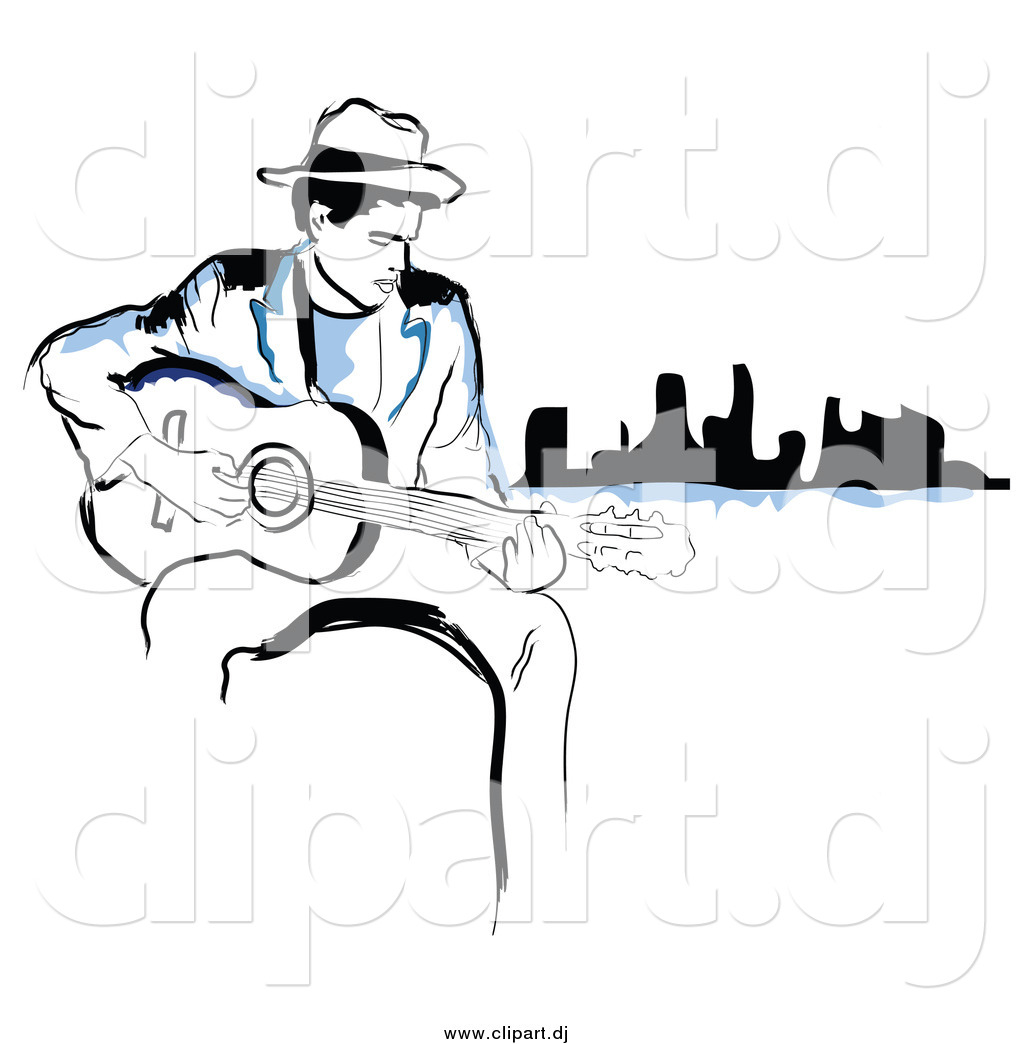 Larger Preview  Vector Clipart Of A Black And Blue Man Playing A