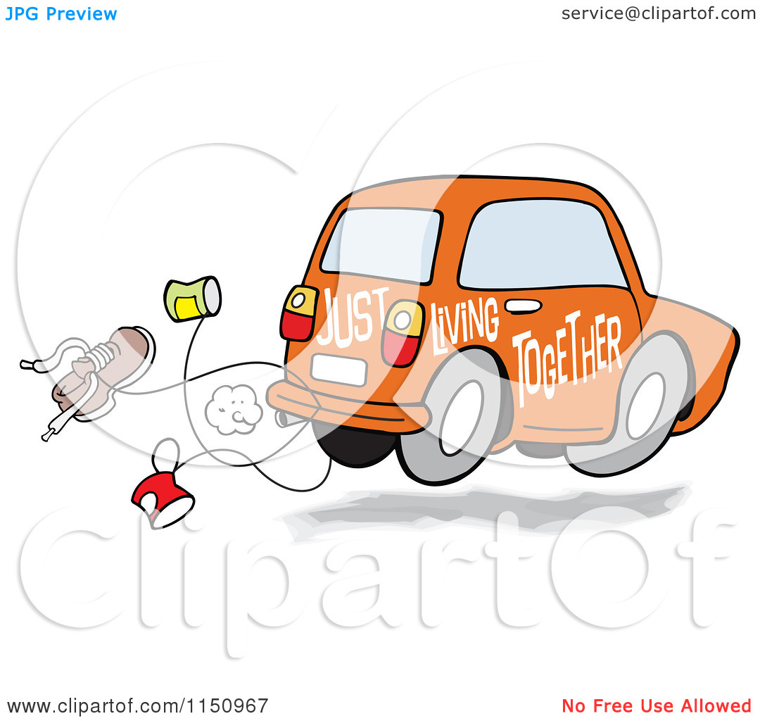 Living Together Car With Cans And A Shoe   Royalty Free Vector Clipart
