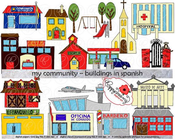 My Community Buildings In Spanish Clipart   300 Dpi Transparent Png