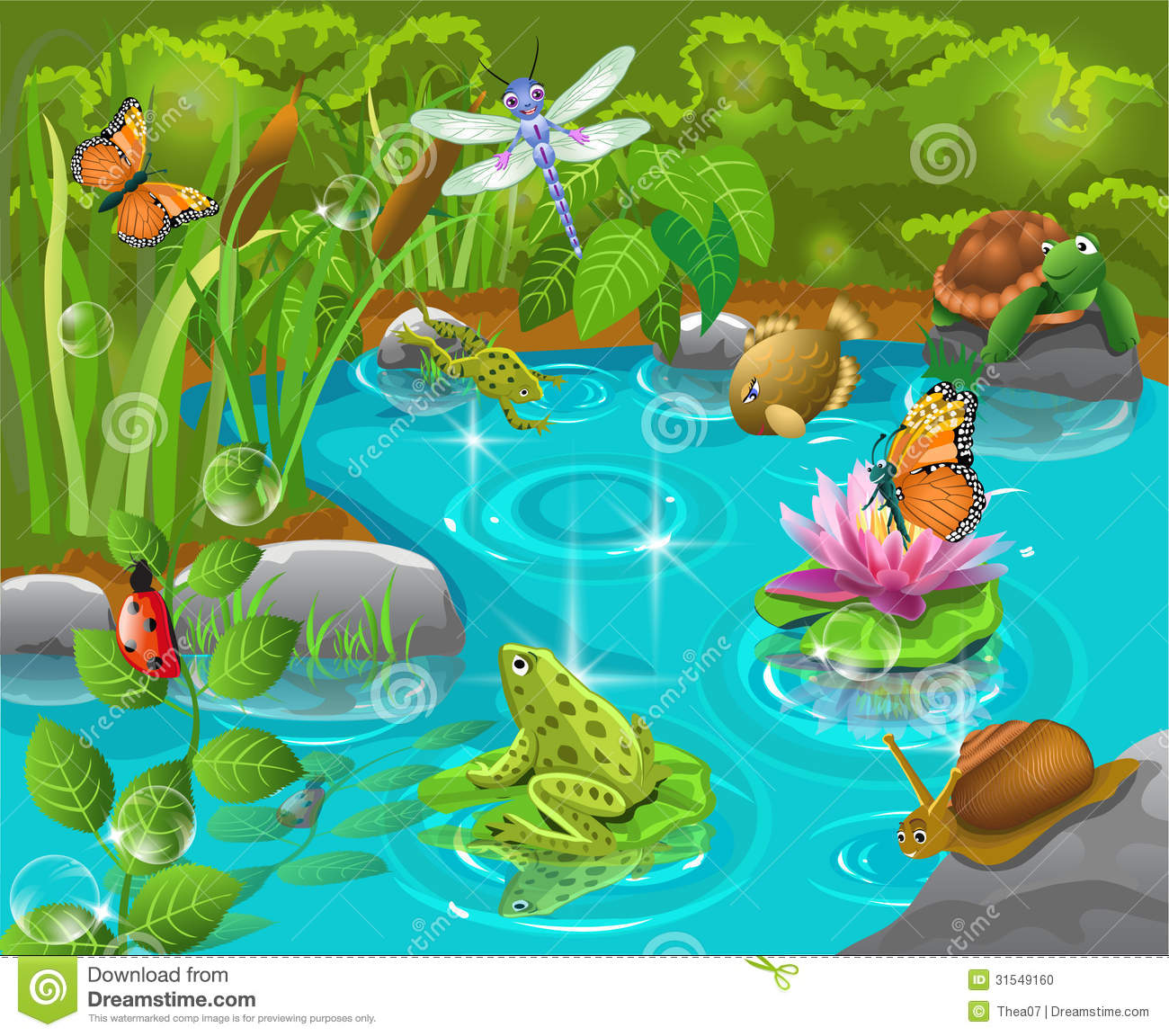 Pond Animals Living Happily Together