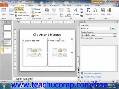 Powerpoint 2010 Tutorial Inserting Clip Art And Pictures Microsoft
