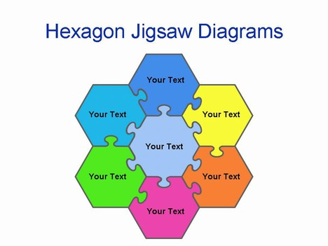Powerpoint Jigsaw Pieces In The Shape Of A Hexagon  A Six Sided Shape