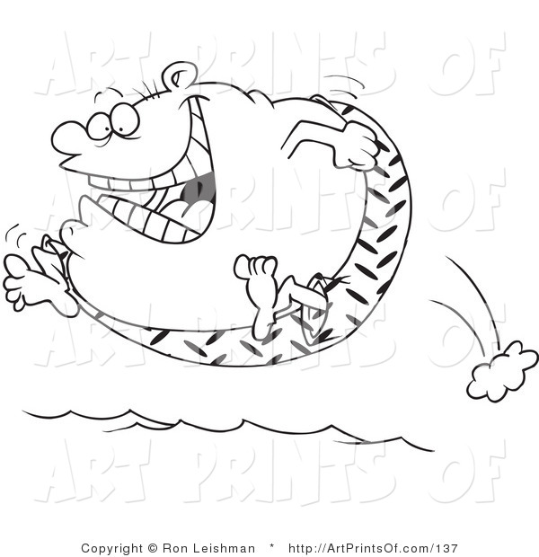 Print Digital File Of A Coloring Page Of A Fat Man Jumping Into Water