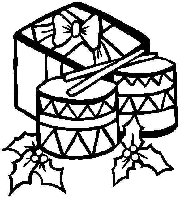Printable Christmas Coloring Page  Drums And Gift