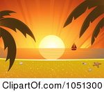 Royalty Free  Rf  Tropical Sunset Clipart Illustrations Vector