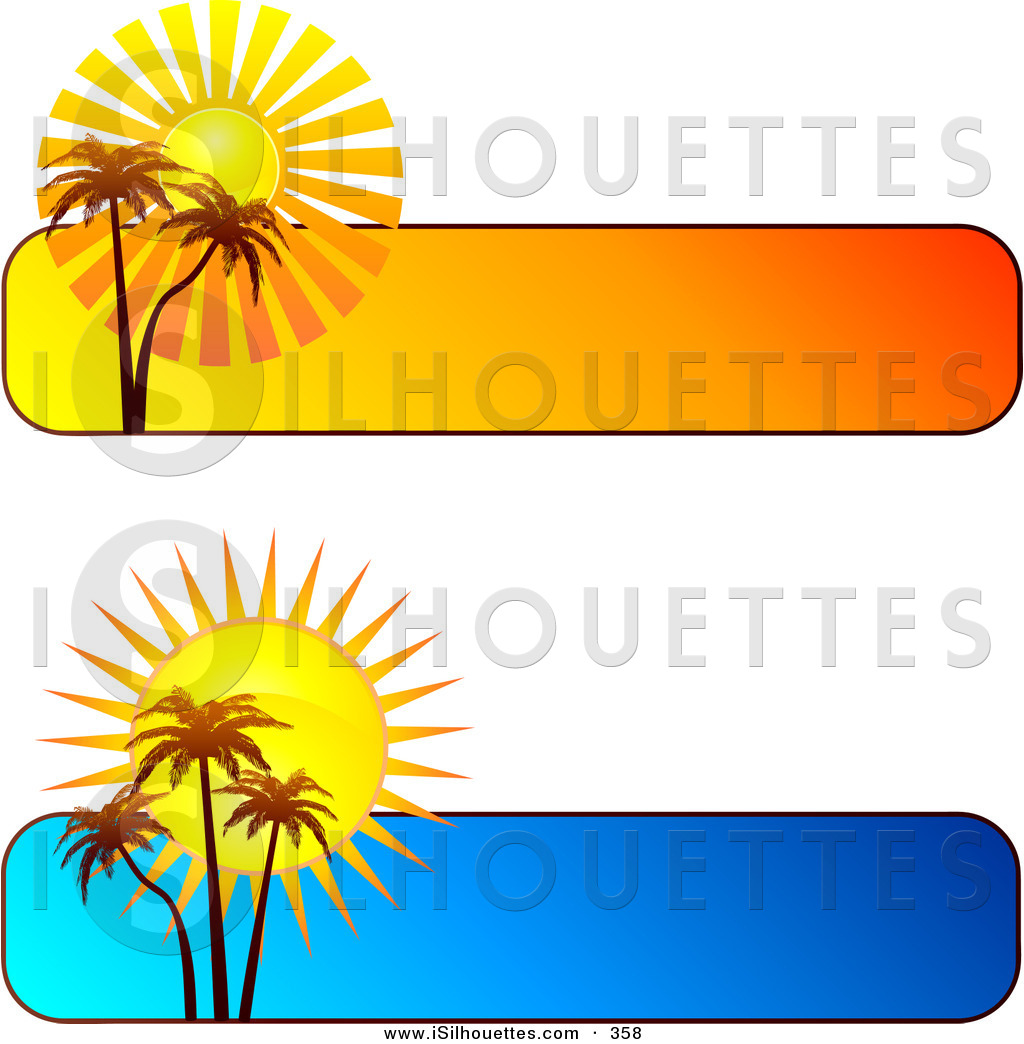 Silhouette Clipart Of A Couple Of Blue And Orange Tropical Sunset
