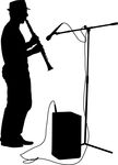 Silhouette Musician Plays The Clarinet  Vector Illustration  Stock