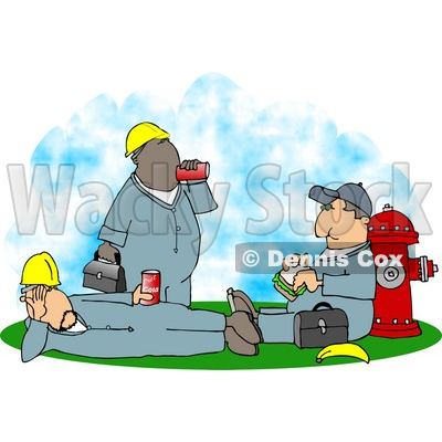 Three Male Workers Taking A Lunch Break Clipart   Dennis Cox  4932