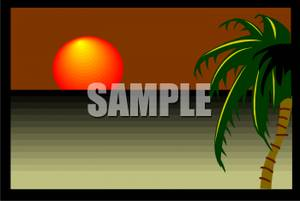 Tropical Sunset   Royalty Free Clipart Picture