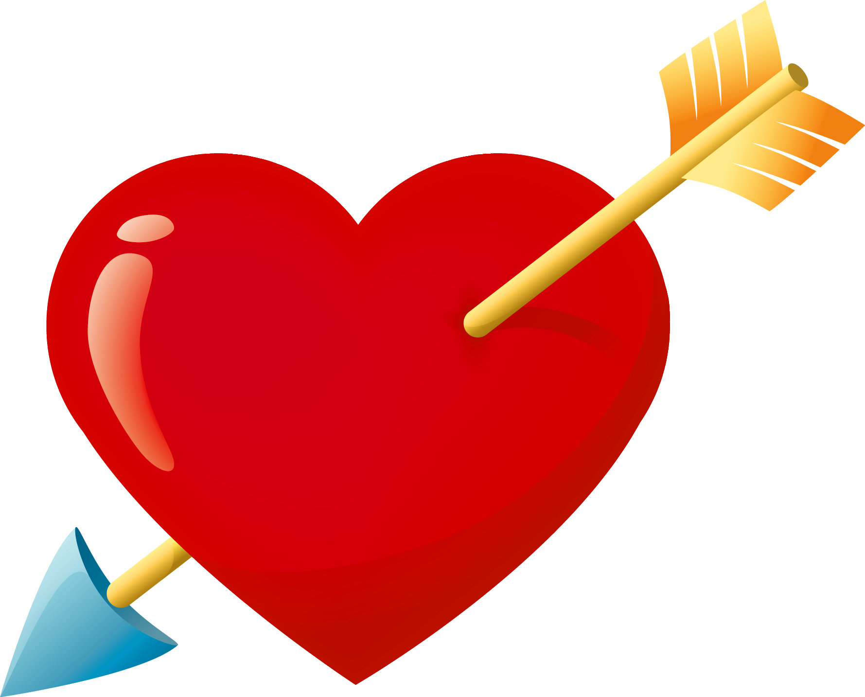 Valentine Red Heart With Arrow Png Clipart