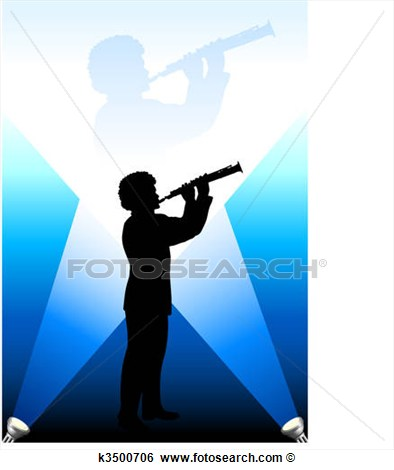 Young Flute Clarinet Player Under The Bright Lights Background View
