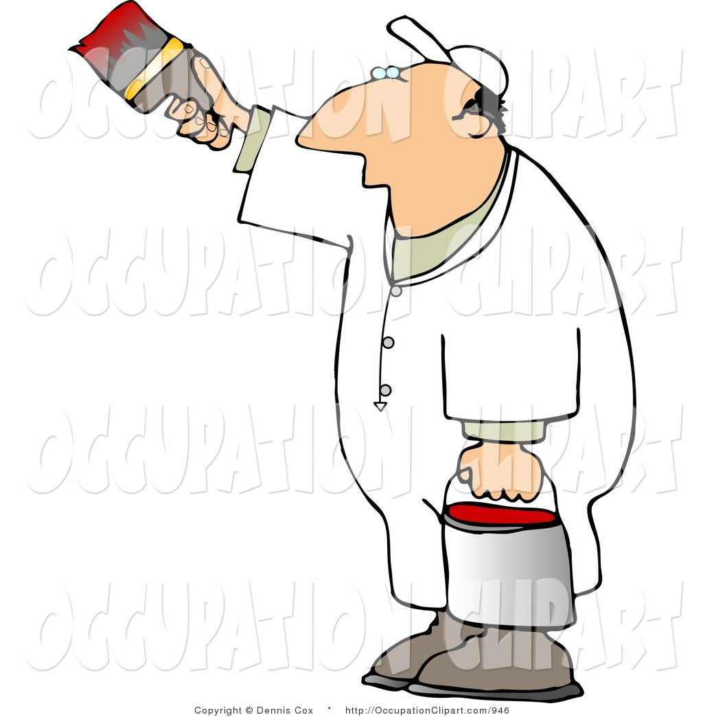 Clip Art Of A Man In White Painting A Vertical Surface With Red Paint