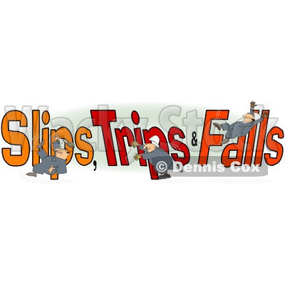 Clipart Of A Slipping Tripping And Falling Man Over Slips Trips And