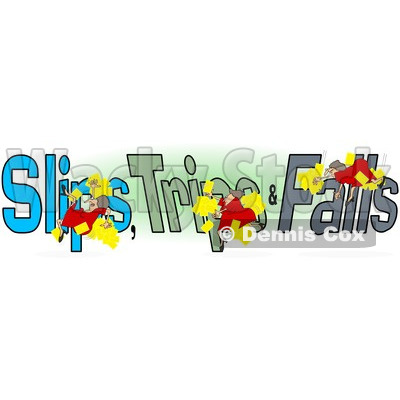Clipart Of A Slipping Tripping And Falling Woman Over Slips Trips And