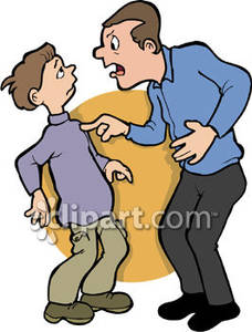 Dad Yelling At His Son   Royalty Free Clipart Picture