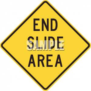 End Slide Area Road Sign   Royalty Free Clipart Picture