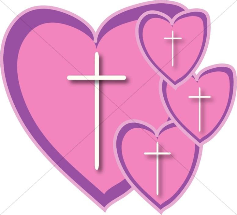 Four Pink Hearts With Crosses