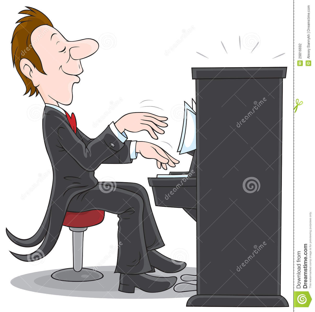 Inspired Musician Plays The Piano Vector Clip Art On A White