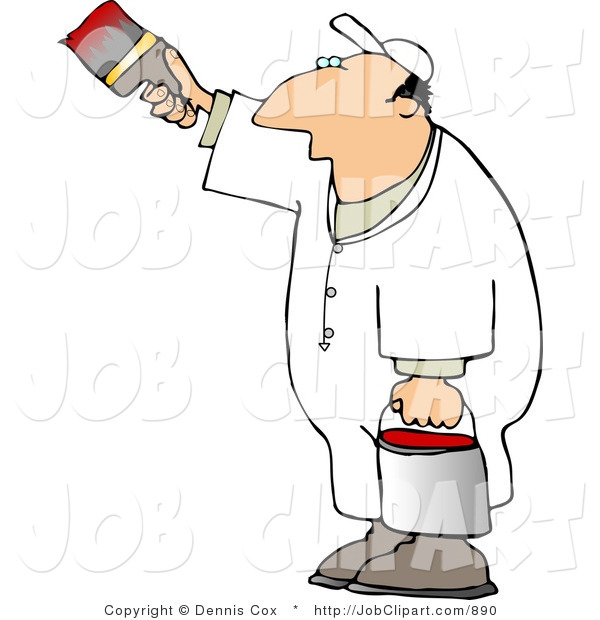 Job Clip Art Of A Man Painting A White Vertical Surface With Red Paint