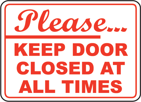 Keep Door Closed Sign   G1910  Door Safety Signs By Safetysign Com