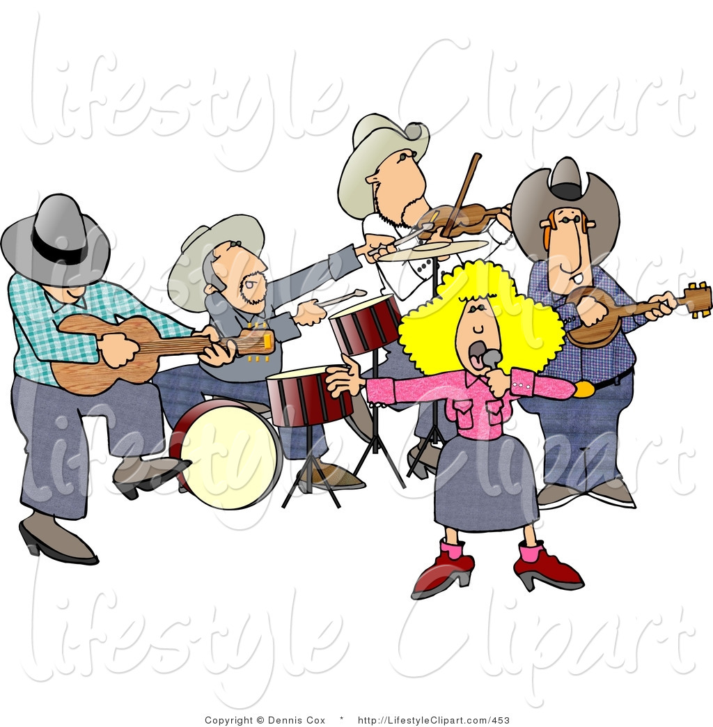 Lifestyle Clipart Of Musicians In A Country Western Band Playing