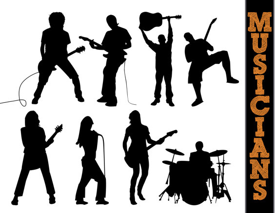 Musicians Silhouettes    Musician Silhouette    Music Clipart