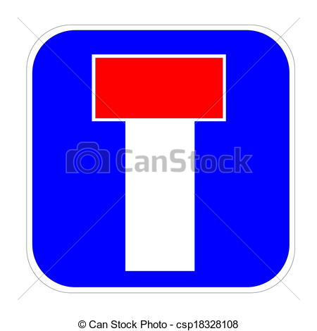 Stock Illustration   Dead End   No Through Road Traffic Sign   Stock