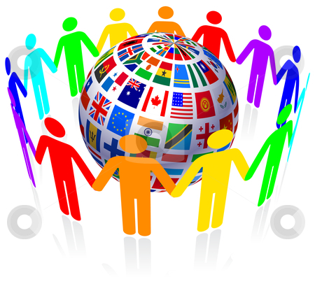 Unity And Flags Globe Stock Vector Clipart Unity And Flags Globe