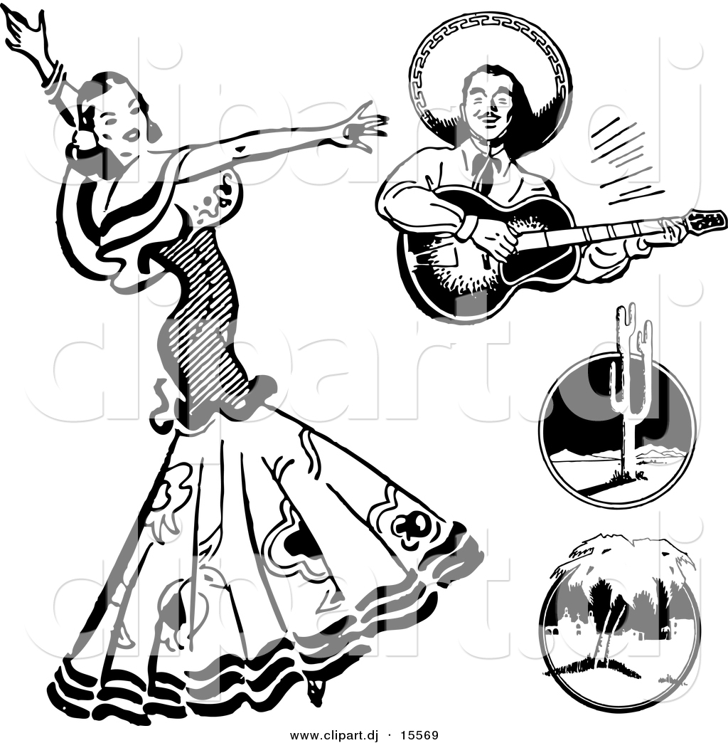 Vector Clipart Of A Mexican Flaminco Dancer   Digital Collage   Retro
