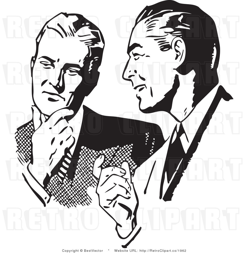 And White Retro Vector Clip Art Of Men Talking By Bestvector    1962