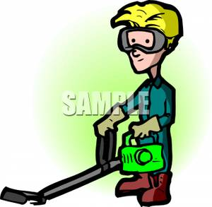 Boy Wearing Goggles Using A Weed Eater   Royalty Free Clipart Picture