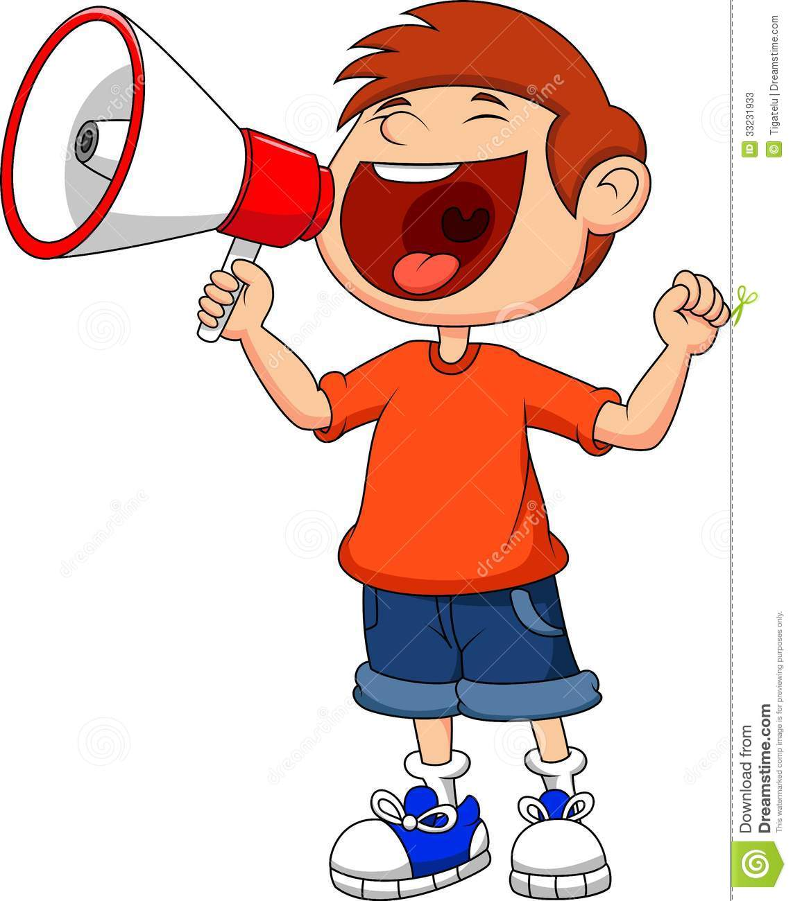 Cartoon Boy Yelling And Shouting Into A Megaphone Stock Photos   Image