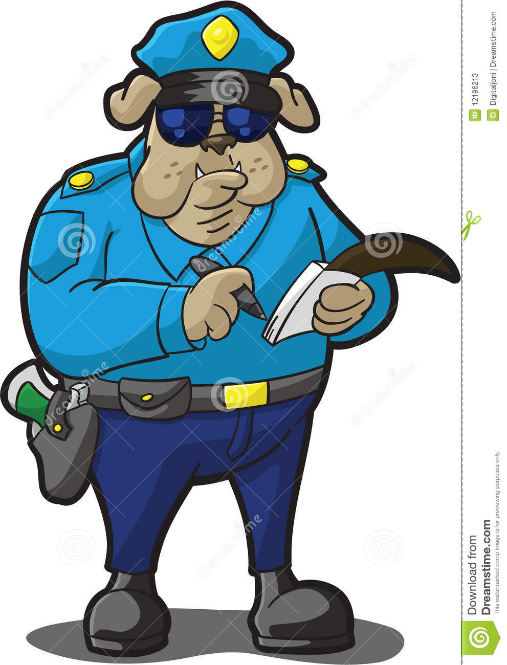 Cartoon Illustration Of A Bulldog In Police Uniform Writing Ticket