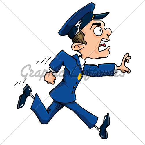 Cartoon Policeman Running Calling Out  Isolated