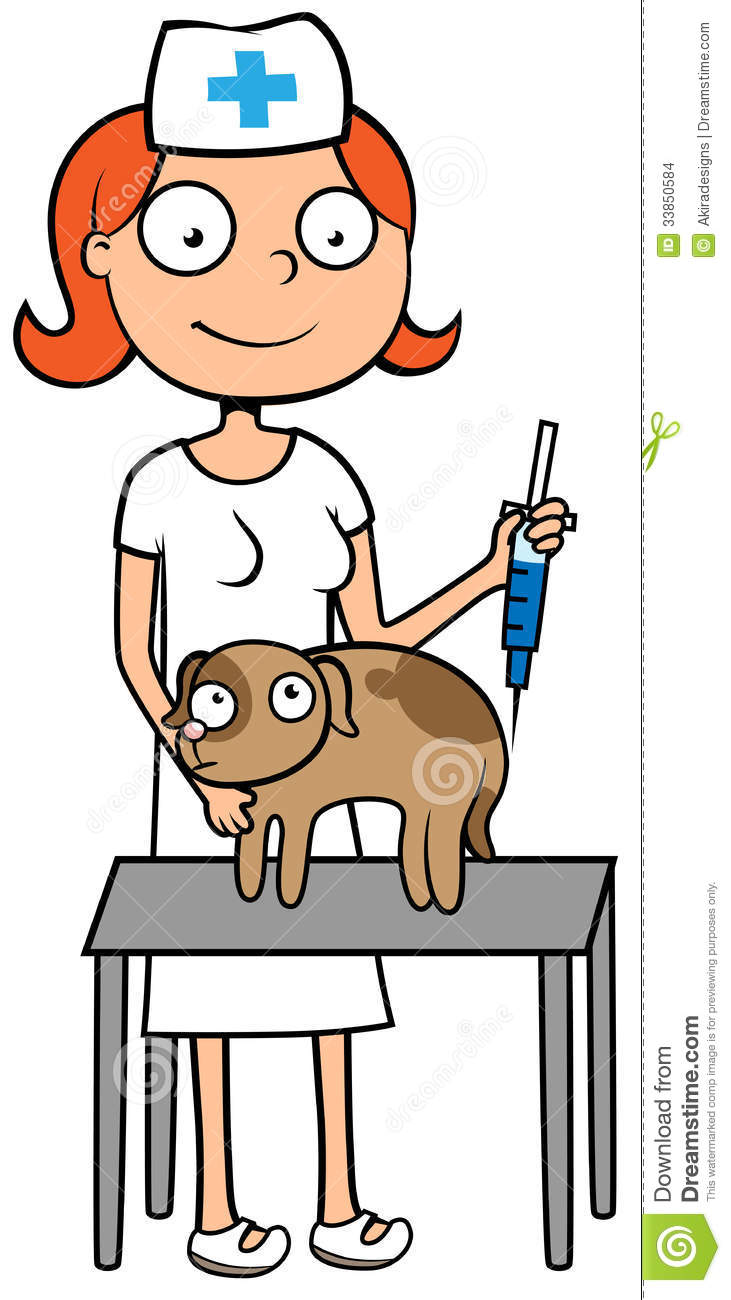 Cartoon Vector Illustration Of Female Vet Doctor Or Nurse With Scared