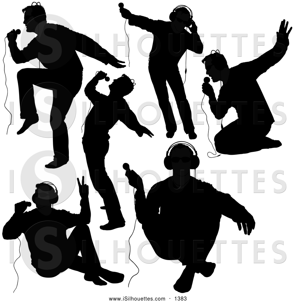 Clipart Of Black Silhouetted Male Singers By Dero    1383