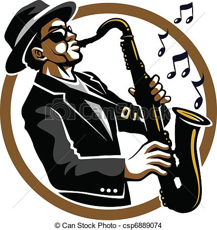 Eps Vector Of Classy Jazzy   Black Blues And Jazzy Saxophone Player